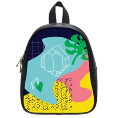 Behance Feelings Beauty Waves Blue Yellow Pink Green Leaf School Bags (small)  by Mariart