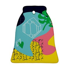 Behance Feelings Beauty Waves Blue Yellow Pink Green Leaf Ornament (bell) by Mariart