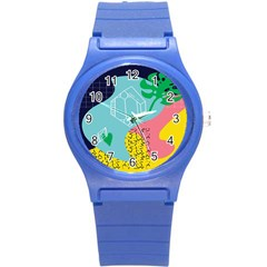 Behance Feelings Beauty Waves Blue Yellow Pink Green Leaf Round Plastic Sport Watch (s) by Mariart