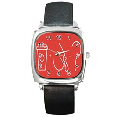 Caffeine And Breastfeeding Coffee Nursing Red Sign Square Metal Watch by Mariart