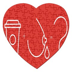Caffeine And Breastfeeding Coffee Nursing Red Sign Jigsaw Puzzle (heart) by Mariart