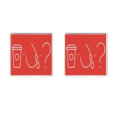 Caffeine And Breastfeeding Coffee Nursing Red Sign Cufflinks (square) by Mariart