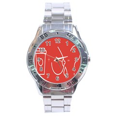 Caffeine And Breastfeeding Coffee Nursing Red Sign Stainless Steel Analogue Watch by Mariart