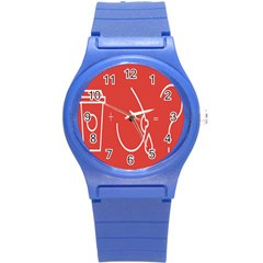 Caffeine And Breastfeeding Coffee Nursing Red Sign Round Plastic Sport Watch (s) by Mariart