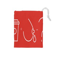 Caffeine And Breastfeeding Coffee Nursing Red Sign Drawstring Pouches (medium)  by Mariart