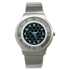 Tile1 Black Marble & Blue Green Water Stainless Steel Watch by trendistuff