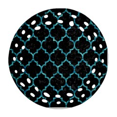 Tile1 Black Marble & Blue Green Water Ornament (round Filigree) by trendistuff