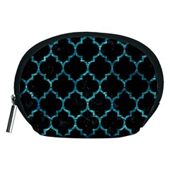 Tile1 Black Marble & Blue Green Water Accessory Pouch (medium) by trendistuff