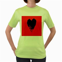 Broken Heart Tease Black Red Women s Green T-shirt