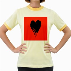 Broken Heart Tease Black Red Women s Fitted Ringer T Shirts