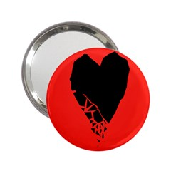 Broken Heart Tease Black Red 2 25  Handbag Mirrors by Mariart