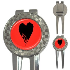 Broken Heart Tease Black Red 3 In 1 Golf Divots by Mariart