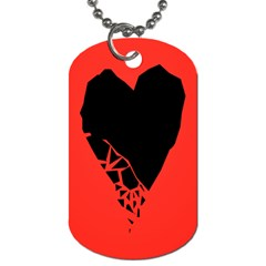 Broken Heart Tease Black Red Dog Tag (one Side) by Mariart