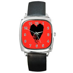 Broken Heart Tease Black Red Square Metal Watch by Mariart
