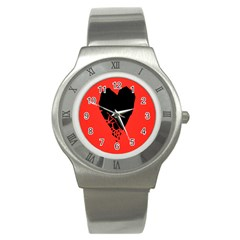 Broken Heart Tease Black Red Stainless Steel Watch by Mariart