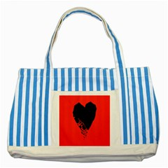 Broken Heart Tease Black Red Striped Blue Tote Bag by Mariart