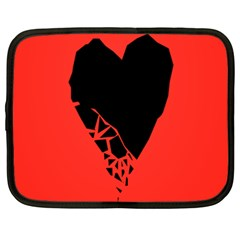 Broken Heart Tease Black Red Netbook Case (xxl)  by Mariart