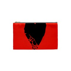 Broken Heart Tease Black Red Cosmetic Bag (small)  by Mariart