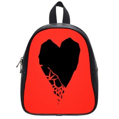 Broken Heart Tease Black Red School Bags (small)  by Mariart