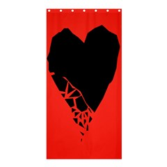 Broken Heart Tease Black Red Shower Curtain 36  X 72  (stall)  by Mariart