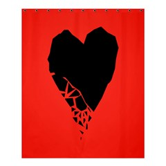 Broken Heart Tease Black Red Shower Curtain 60  X 72  (medium)  by Mariart