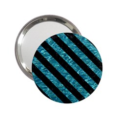 Stripes3 Black Marble & Blue Green Water (r) 2 25  Handbag Mirror by trendistuff