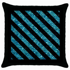 Stripes3 Black Marble & Blue Green Water (r) Throw Pillow Case (black) by trendistuff