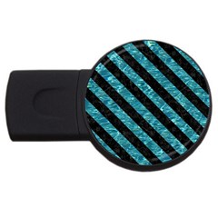 Stripes3 Black Marble & Blue Green Water (r) Usb Flash Drive Round (2 Gb) by trendistuff