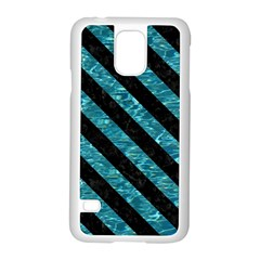Stripes3 Black Marble & Blue Green Water (r) Samsung Galaxy S5 Case (white) by trendistuff