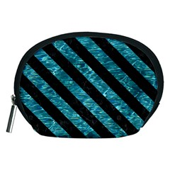 Stripes3 Black Marble & Blue Green Water (r) Accessory Pouch (medium) by trendistuff