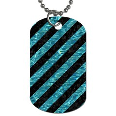 Stripes3 Black Marble & Blue Green Water Dog Tag (two Sides) by trendistuff