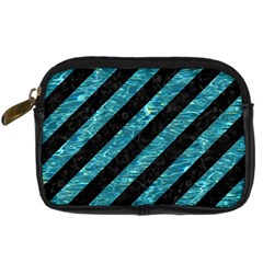 Stripes3 Black Marble & Blue Green Water Digital Camera Leather Case by trendistuff