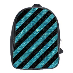 Stripes3 Black Marble & Blue Green Water School Bag (large) by trendistuff