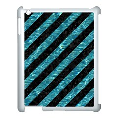 Stripes3 Black Marble & Blue Green Water Apple Ipad 3/4 Case (white) by trendistuff