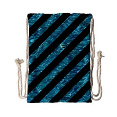 Stripes3 Black Marble & Blue Green Water Drawstring Bag (small) by trendistuff