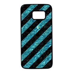 Stripes3 Black Marble & Blue Green Water Samsung Galaxy S7 Black Seamless Case by trendistuff