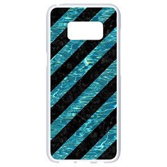 Stripes3 Black Marble & Blue Green Water Samsung Galaxy S8 White Seamless Case by trendistuff