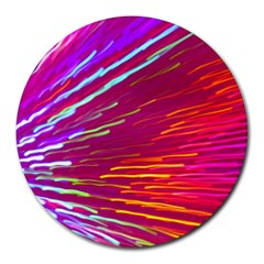 Zoom Colour Motion Blurred Zoom Background With Ray Of Light Hurtling Towards The Viewer Round Mousepads by Mariart