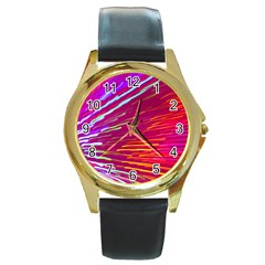 Zoom Colour Motion Blurred Zoom Background With Ray Of Light Hurtling Towards The Viewer Round Gold Metal Watch by Mariart