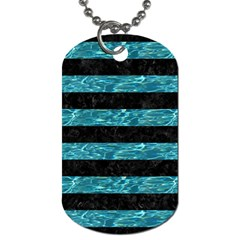 Stripes2 Black Marble & Blue Green Water Dog Tag (one Side)