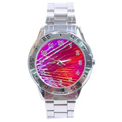 Zoom Colour Motion Blurred Zoom Background With Ray Of Light Hurtling Towards The Viewer Stainless Steel Analogue Watch by Mariart
