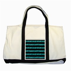 Stripes2 Black Marble & Blue Green Water Two Tone Tote Bag