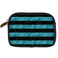 Stripes2 Black Marble & Blue Green Water Digital Camera Leather Case by trendistuff