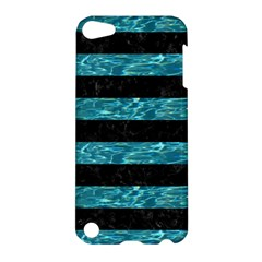 Stripes2 Black Marble & Blue Green Water Apple Ipod Touch 5 Hardshell Case by trendistuff