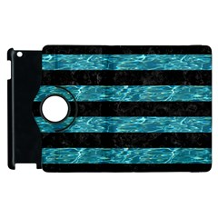 Stripes2 Black Marble & Blue Green Water Apple Ipad 3/4 Flip 360 Case by trendistuff