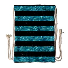 Stripes2 Black Marble & Blue Green Water Drawstring Bag (large) by trendistuff