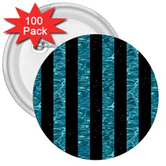 Stripes1 Black Marble & Blue Green Water 3  Button (100 Pack) by trendistuff