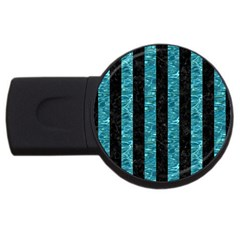Stripes1 Black Marble & Blue Green Water Usb Flash Drive Round (4 Gb) by trendistuff