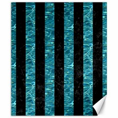 Stripes1 Black Marble & Blue Green Water Canvas 8  X 10  by trendistuff