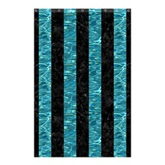 Stripes1 Black Marble & Blue Green Water Shower Curtain 48  X 72  (small) by trendistuff
